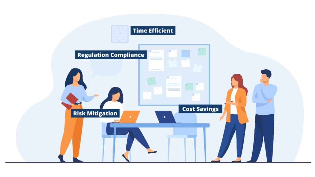 The benefits of Employee Outsourcing Services are: time-efficient, cost-savings, regulation compliance, and risk mitigation.